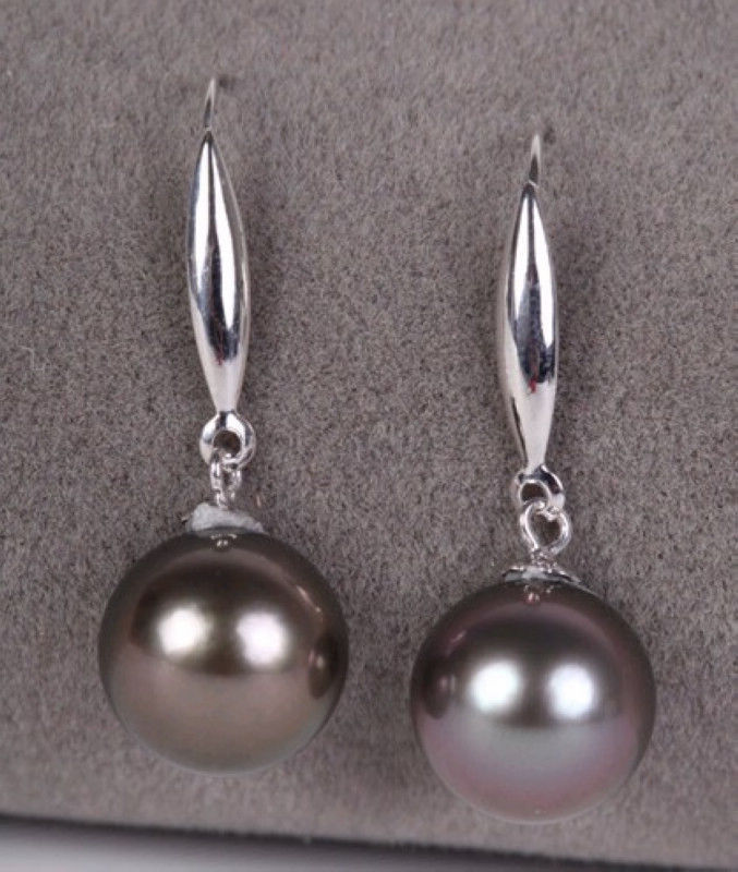 ROUND BLACK 10-11MM AAA SOUTH SEA PEARL DANGLE EARRING 14K/20 WHITE GOLDROUND BLACK 10-11MM AAA SOUTH SEA PEARL DANGLE EARRING 14K/20 WHITE GOLD