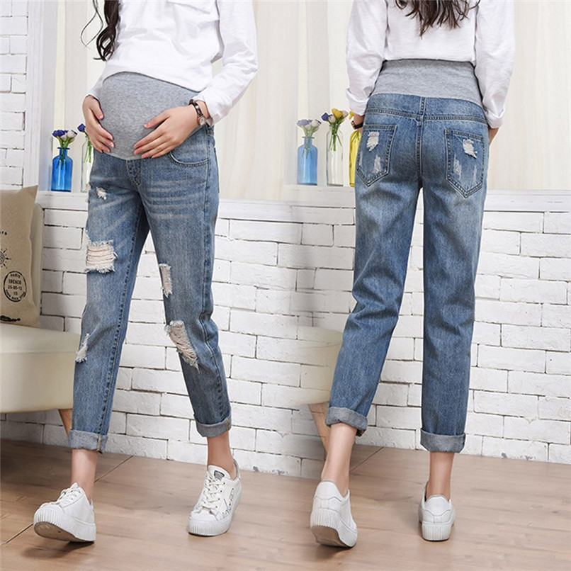 XL-4XL Maternity Clothes Pregnancy Clothes Woman Pregnant Maternity Ripped Pants Trousers Loose Hole Stomach Lift Jeans AU29 Одежда