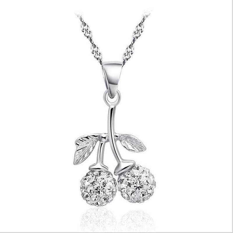 Ashley Jeweller 925 Silver White Cubic Zirconia 4 Leaf Clover Pendant Necklace 18in