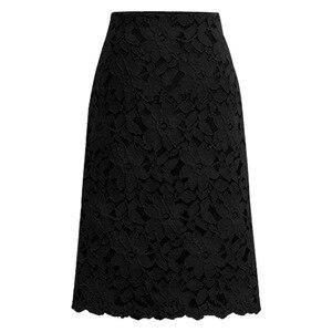Image 5 - 2020 Fashion Lace Women Skirt Large Size Elastic Waist A line Slim Female Skirts Plus Size Skirts