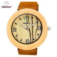 IBigboy Reloj Hombres Ronda Relojes Del Medio Ambiente De Madera de Arce Zebrawood Japón Banda de Cuero de Cuarzo Relojes Casual Para Hombres