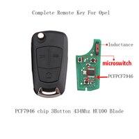 צ 'יפ PCF7946 מפתח מרחוק מלא LARATH 3 לחצנים ווקסהול אופל Vectra C 2002-2008 מתקפל מפתחות מכונית 434 Mhz להב HU100