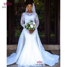 Прозрачные длинные рукава с изящной вышивкой маленький блестками на атласное свадебное платье 2019 Русалка со съемным шлейфом w0607