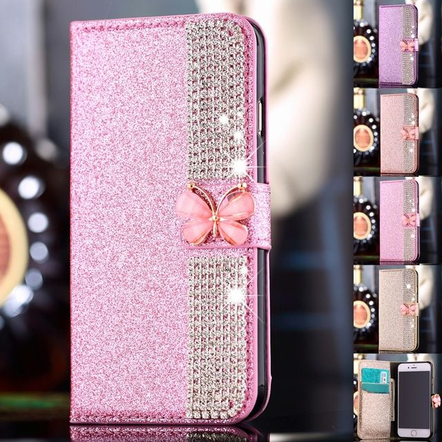 newest c9a50 99efe US $8.9 19% OFF|Luxury PU Leather Magnetic Flip Stand Bling Wallet Cover  Case For iPhone 7 7 Plus/6S PLUS/5S/SE/For Samsung galaxy S6/7/S6EDGE-in ...