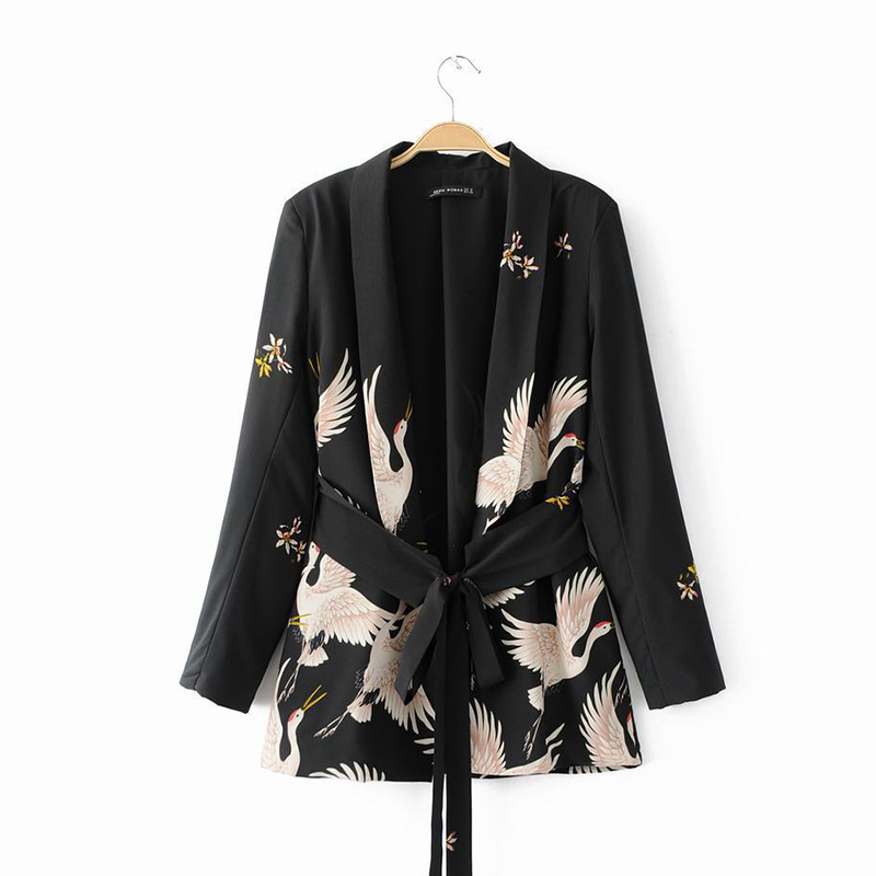 New Fashion Causal Loose Women   Basic     Jackets   Autumn Winter Ladies Clothes Sashes Outwear Print Black Belts Women   Jackets   MLD1182