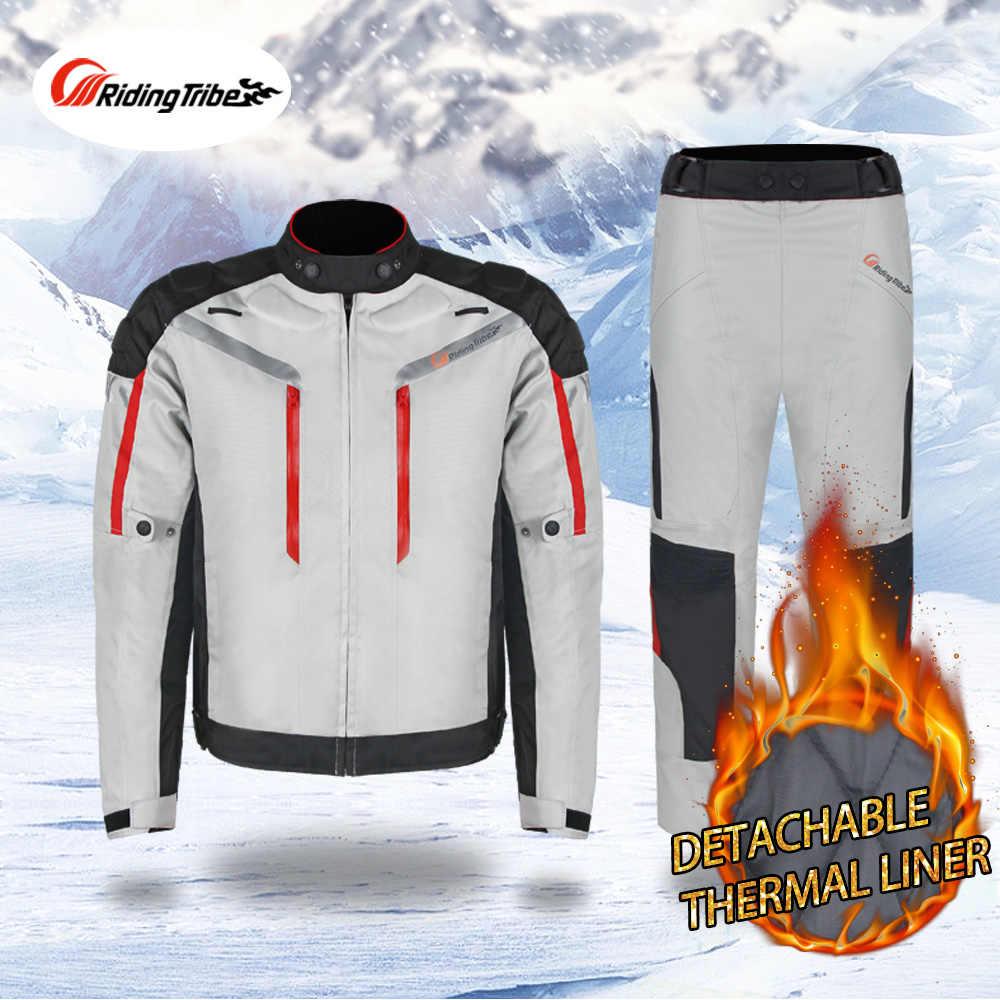 Riding Tribe profesional Moto COMBInación de Seguridad motocicleta chaqueta pantalones traje de invierno impermeable ropa de carreras 4 temporada JK-40A
