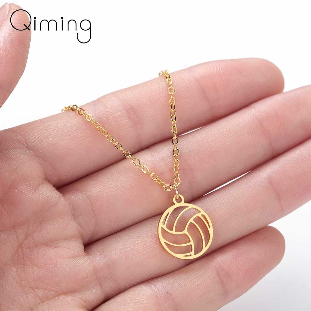 Silver Volleyball Necklace Women Men Ball Pendant Sports Jewelry Gifts Volley Ball Sports Fan Coach Necklace Best Gift