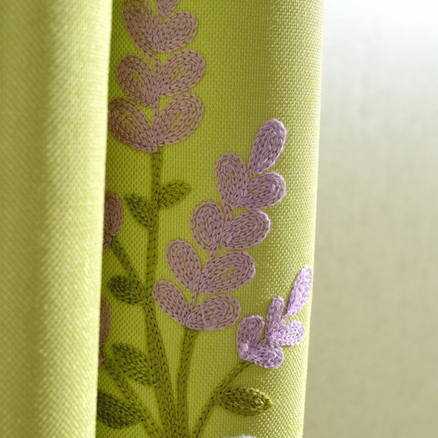 Pastoral Faux Linen Window Curtains for Kids Bedroom Embroidered VOILE&CLOTH Curtains For Living Room Blackout Children Curtain