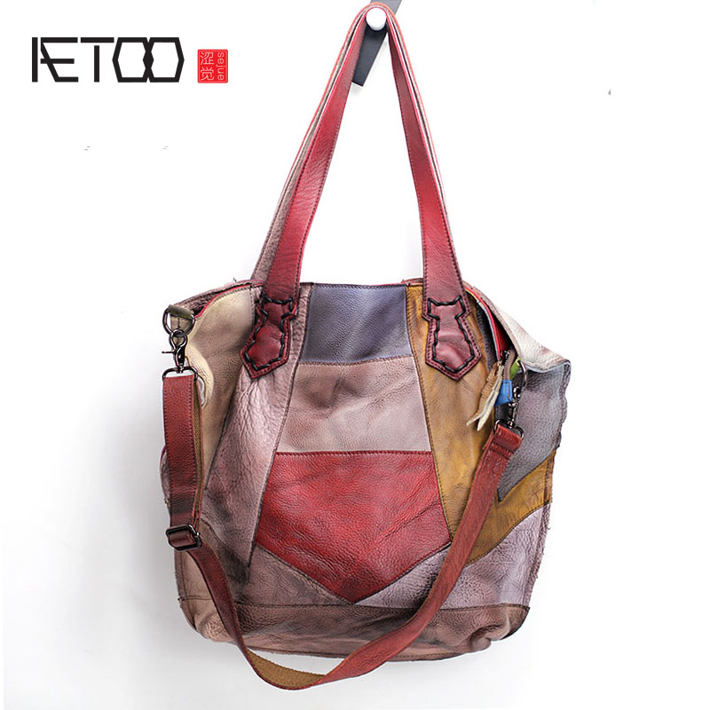 AETOO Europe and the United States casual leather handbags soft leather cowhide pure Mori Department of Hong Kong retro wide sho aetoo europe and the united states fashion new men s leather briefcase casual business mad horse leather handbags shoulder
