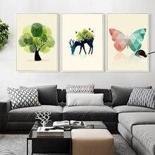 Фотография Deer Head Fingerprint Tree Minimalist Art Canvas Print Posters Abstract Image for Modern Home Living Room Decoration Of Wall Gif