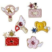 2017 Acessórios de Moda Jóias Esmalte Metal Card Captor Sakura Gato Varinha Estrela Broche Pin Para Roupas Para Meninas Mochila