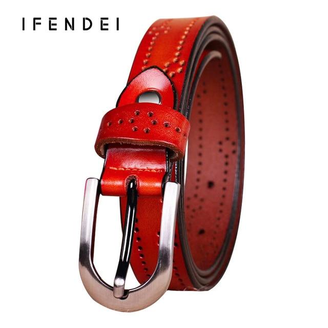 IFENDEI New Luxury Female Belt Women Genuine Leather Thin Casual Belts Strap Leisure Wild Simple Fashion Buckle Belt Waist Dress