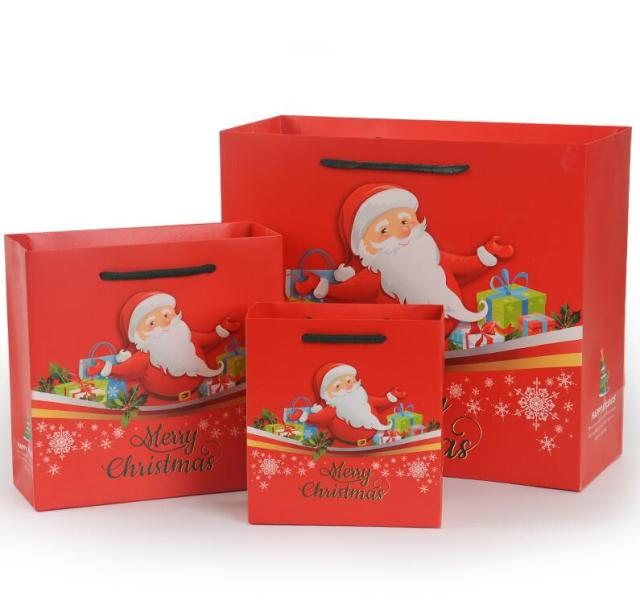 small red christmas paper gift bag with handleschristmas gift bag for candypaper