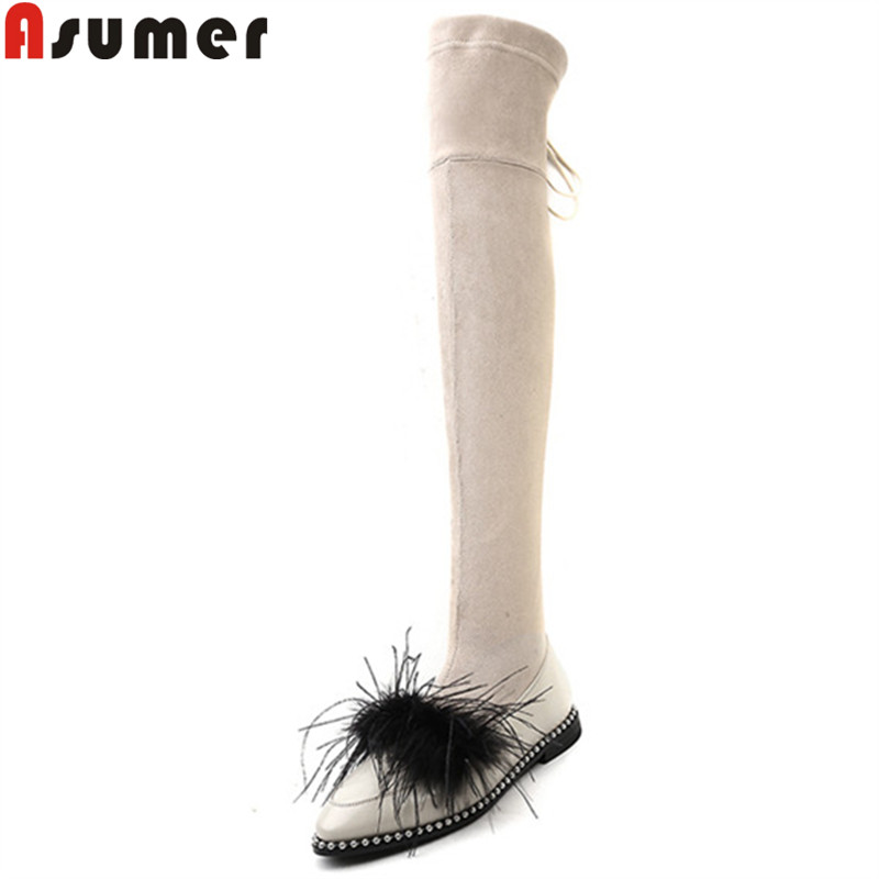 ASUMER 2018 fashion over the knee boots women pointed toe zip faux suede+cow leather boots low heels elegant thigh high boots asumer 2018 hot fashion pointed toe cow suede leather boots stiletto high heels over the knee boots for women zip winter boots