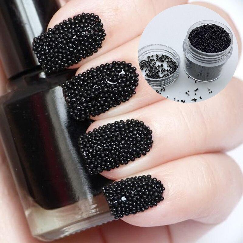 088 12 De Descuento10 Gcaja Nuevo Diseño De Uñas Cuentas De Uñas Tachuelas De Color Negro Caviar Cuentas Para Uñas Decoraciones De Manicura 3d