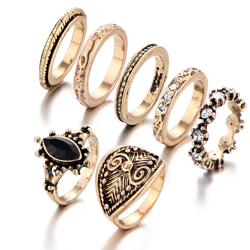 Japan Vintage Carved Women Men Classic Rings Gold Color Joint Ring Crystal CZ Finger Hand Jewelry