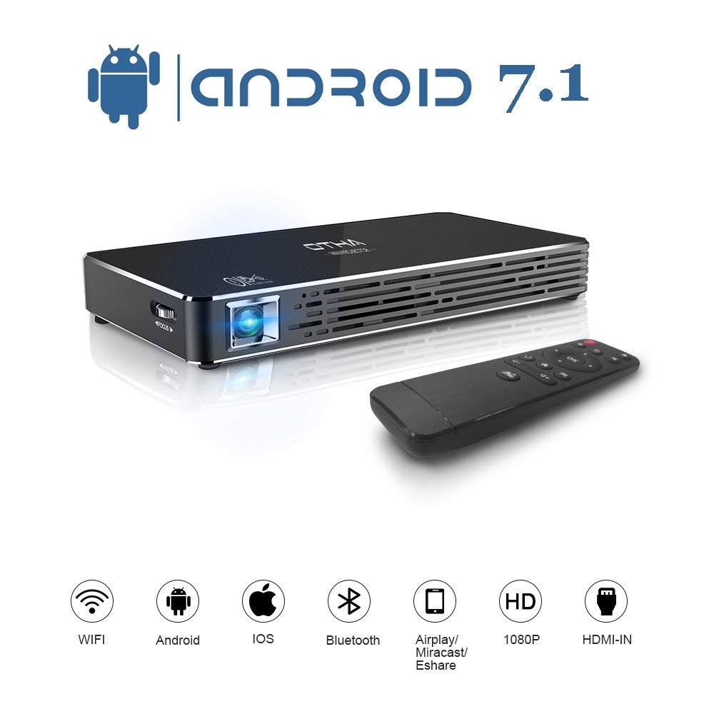 OTHA Пико Портативный Android 7,1 видео DLP проекторов Max 120 Дисплей Smart мобильный проектор Мини Игровой или открытый кемпинг