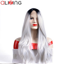 Alizing 13*4 Lace Wig Ombre Color Black To Grey Sliver Synthetic Hair Front Natural Wave Long wave Styles k033