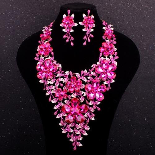 3326214b214c10 Fashion Bridal Jewelry Sets Pink Rhinestone Crystal Flowers Statement  Necklace Earrings Set Wedding Prom Dress Accessories Women