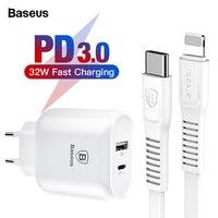 Зарядное устройство Baseus 32 Вт USB C PD для iPhone Xs X Quick Charge type C PD 3,0 зарядное устройство для мобильного телефона Быстрая зарядка type-c PD USB зарядное ус...