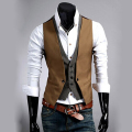Men Formal Business Casual Suit Tuxedo Layered Style Slim Fitted Waistcoat Vest