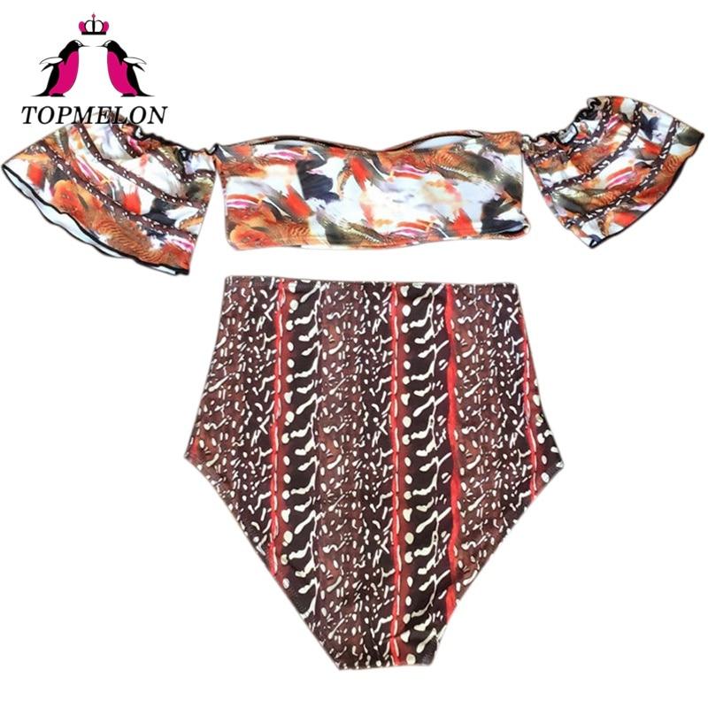 High Waist Bikini Slash Neck Women Swimsuit Printed