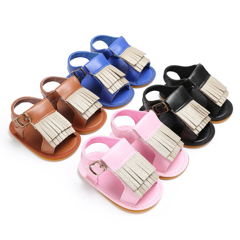 Fashion Cute Baby Boys Girls Sandals PU Leather Rubber Sole Anti-Slip Summer Shoes with Tassel -17