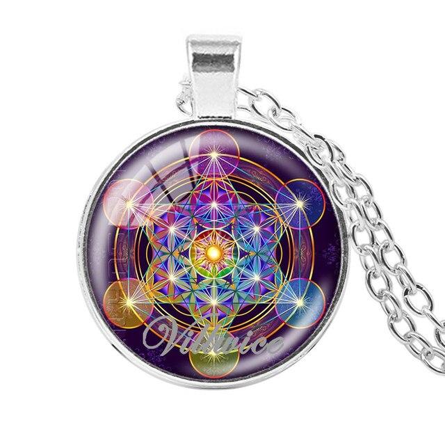 Villwice Metatron Cubo Colgante Flor De La Vida Mandala Collar De