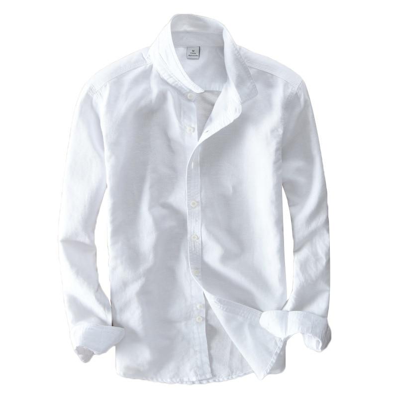 Shirts Mens Cotton Shirt Mens Pure Color Casual Long Sleeve Shirt Color White/black/light Blue/khaki/orange/lake Blue/navy/sunset Red