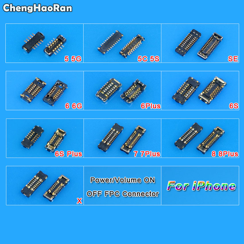 ChengHaoRan Power Volume On Off FPC <font><b>Connector</b></font> Plug On Motherboard Replacement for <font><b>iPhone</b></font> 5 5C 5S SE 6 6S 7 <font><b>8</b></font> Plus X image