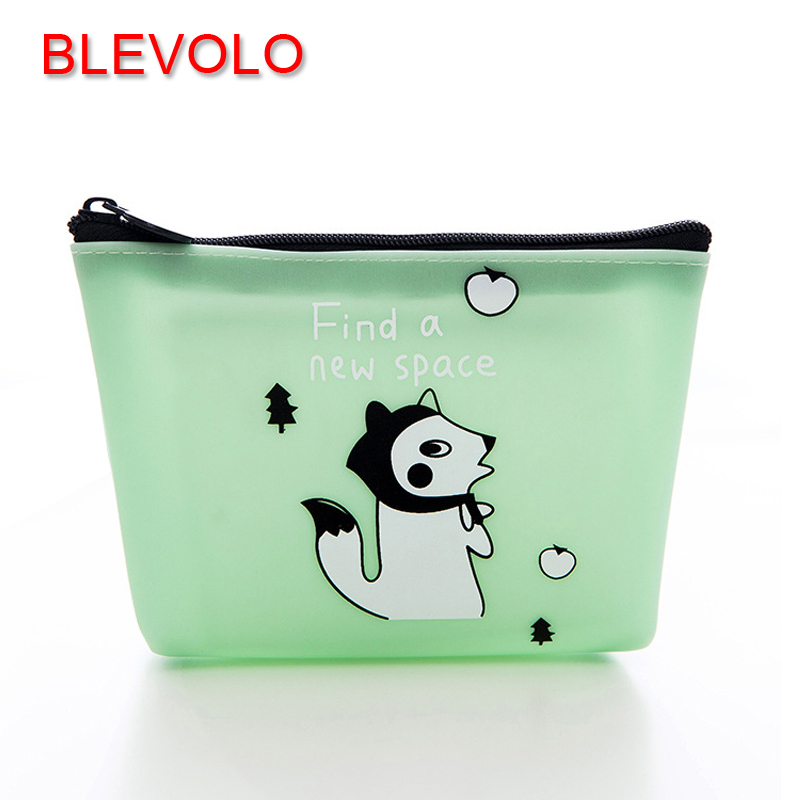 BLEVOLO Creative Cartoon Jelly Silicone Waterproof Coin Purse Animal Pattern Zipper Small Wallet Cute Coin Bags Key Pouch Purses pacgoth creative pvc waterproof cute carton candy color purse dessert donuts summer sweet hearts zipper coin purses money bag