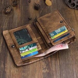 Image 5 - AETOO portefeuille en cuir fait à la main Original, court couche de cuir rétro, verticale, fermeture éclair, boucle masculine, porte monnaie, couple, Vintage