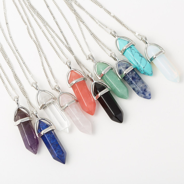 2017 Fashion Women Vintage Pendants Bullet Crystal Necklace Natural Stone Quartz Necklaces Bijoux Jewelry Chain Necklace