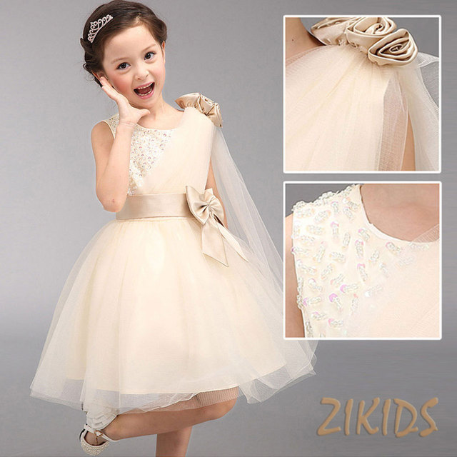 Summer Girl Princess Dress Sleeveless Sequined Flowers Girls Dresses ...