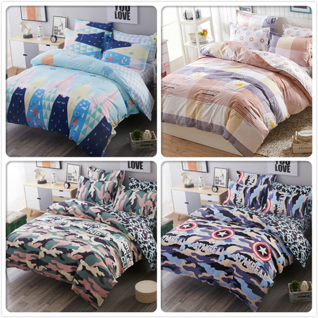 4pcs Bedding Set Couple Kids Double Duvet Cover Bed Linen Full King Queen  Twin Size Single