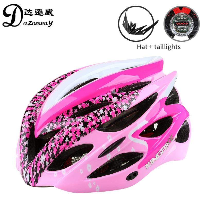 2018 Populaire Femmes Casque De Vélo Ultra-Léger Casque de Vélo Rose/Pourpre Route VTT Vélo Casque EPS Avec La Lumière Équipement de Vélo