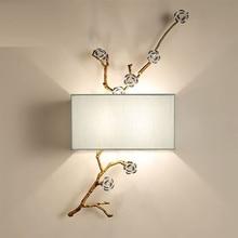 Stile cinese lampada da parete in tessuto applique da parete moderni per la casa