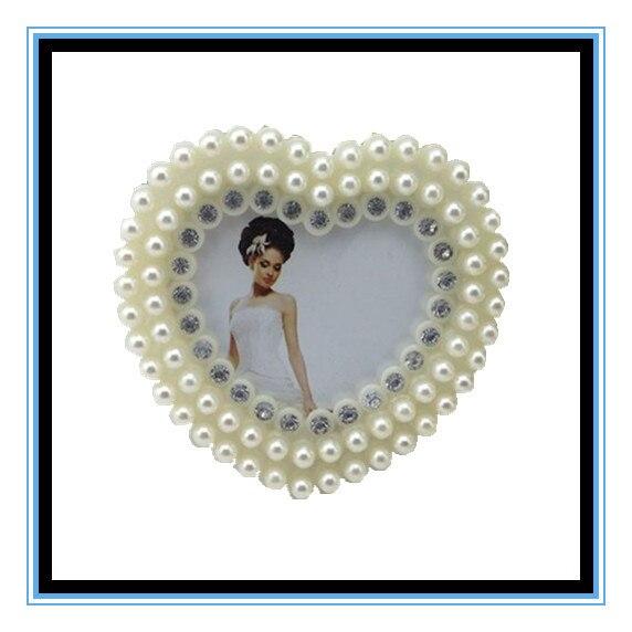 3 pulgadas blanco boda de forma de corazón foto foto marco ABS ...