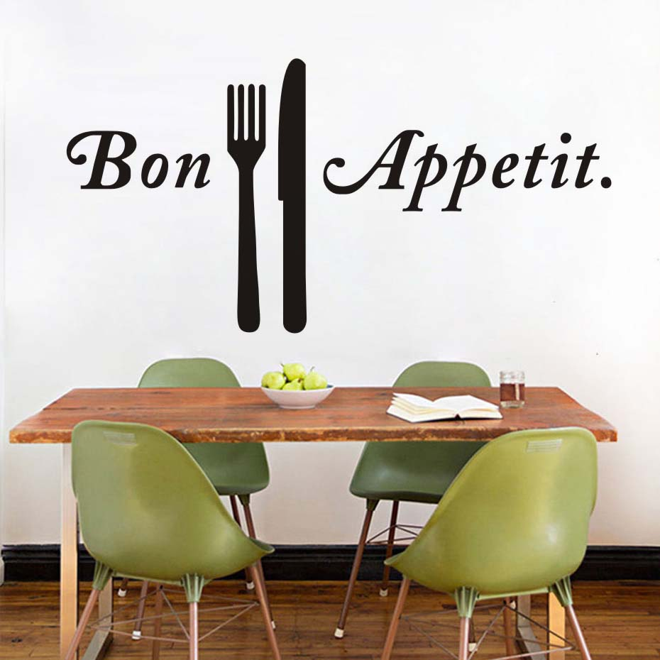Kitchen Cook Bon appetit Quote Wall Stickers Knife And Fork Art Dining Room Removable Decals Diy Mural Home Decoration