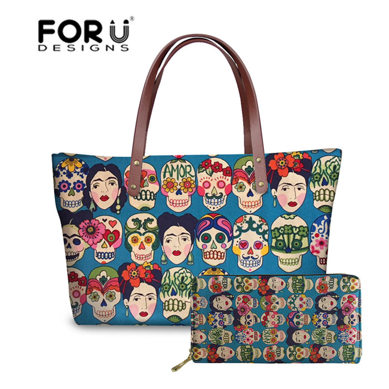 FORUDESIGNS Sugar Skull Printing Handbags Women Large Top-Handle Bags Ladies Shoulder Bag For Females 2pcs/set Hand Bag&Wallet