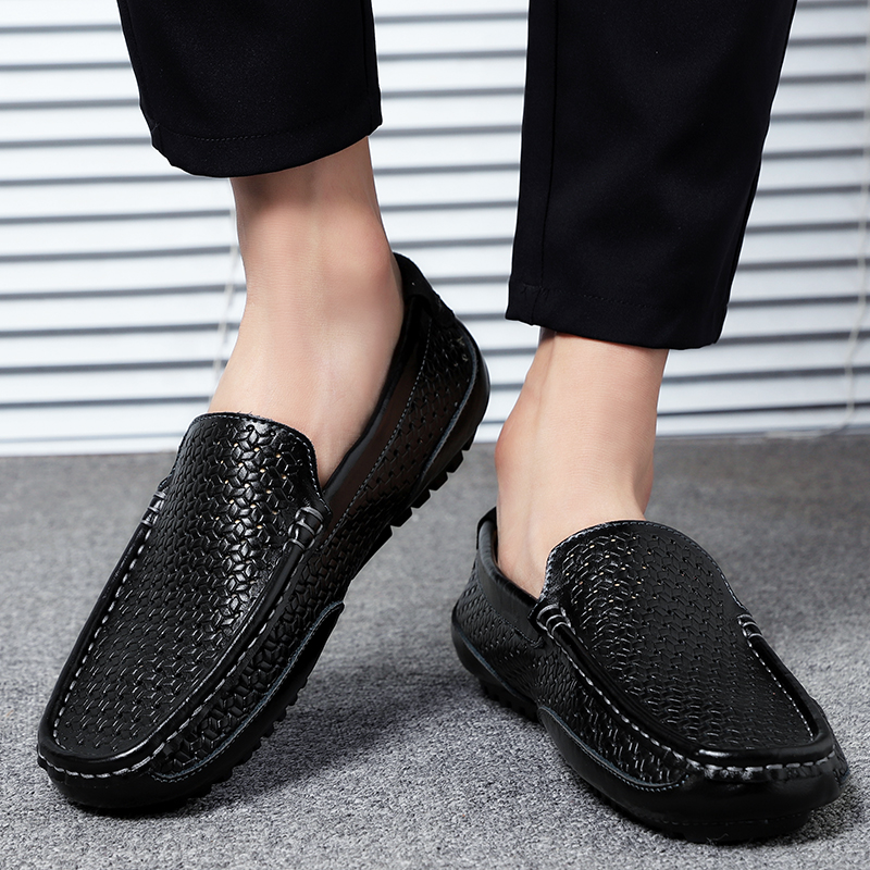 HTB1o2AYMZfpK1RjSZFOq6y6nFXaE Summer Men Shoes Casual Luxury Brand Genuine Leather Mens Loafers Moccasins Italian Breathable Slip on Boat Shoes Black JKPUDUN