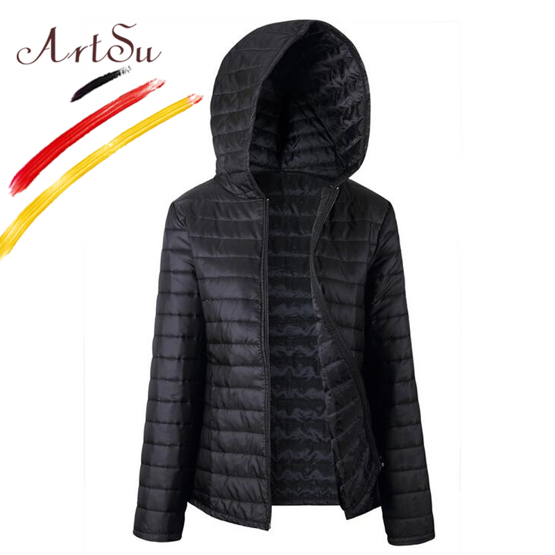 ArtSu 2017 Women's Down Jacket Autumn Winter Slim Female Coat Windproof Hooded Overcoat Short Coats   Parka   Plus Size ASCO20070