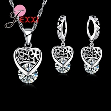 JEXXI Fashion Woman Accessories 925 Sterling Silver Jewelry Sets Luxury CZ Crystal Heart Pendant Necklace + Earring Set