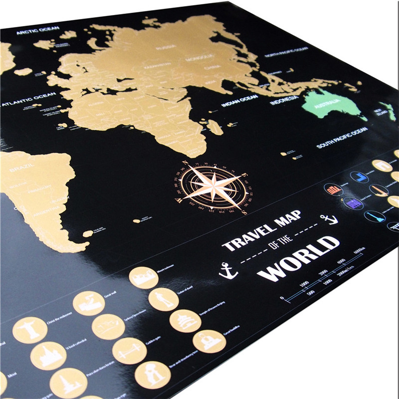 Travel adventure world maps black gold easy foil layer coating travel adventure world maps black gold easy foil layer coating poster personalized world map home wall decor free ship 50x72cm in wall stickers from home gumiabroncs Image collections