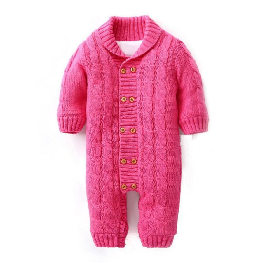 Baby Rompers 2017 New Baby Girl  Thicken Clothes Boys Winter Knitting Clothing Infant Jumpsuits Coveralls HW2039 new 2016 autumn winter kids jumpsuits newborn baby clothes infant hooded cotton rompers baby boys striped monkey coveralls