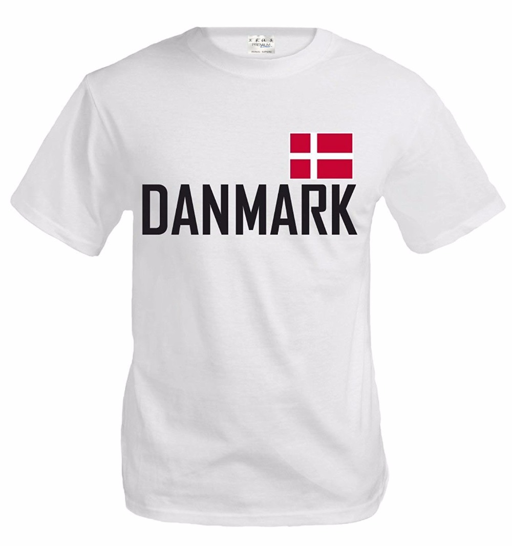100% Cotton Top Tee For Teen Girls Print T-Shirt Summer Casual O Neck Shirt Plus Size T-Shirt Danmark Flag Danish Tee Shirt