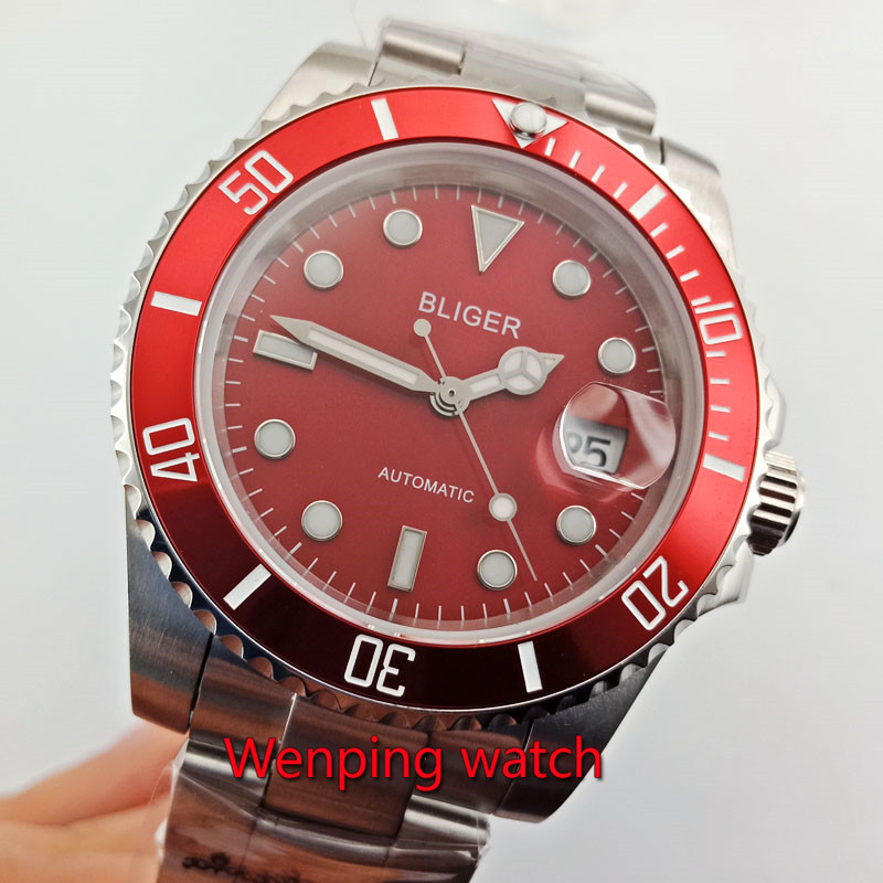 40mm Mechanical montres de poignet red dial red bezel Bliger magnifying date automatic movement men watches