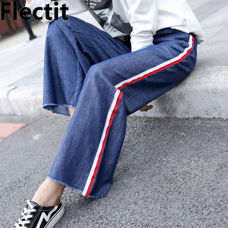 Flectit Straight Fit Casual Wide Leg Denim Pants Women Jeans with Side Stripes Cropped Dee Pants Female Trousers