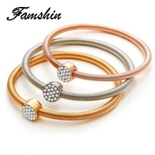 FAMSHIN Trendy Charm Crystal Bracelets&Bangles for Women 3 Color Gold Color Round Pendants Rhinestone Ladies Bracelets 3Pcs/Set(China)