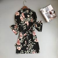 Satin Kimono Robe 2018 New Arrival Dressing Gowns For Women Print Bridesmaid Robes Sexy Sleepwear Nightdress